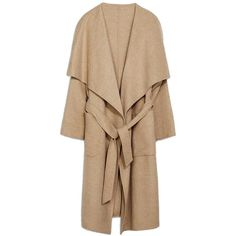 Camel Draped Open-Front Long Coat ($49) ❤ liked on Polyvore featuring outerwear, coats, jackets, tops, coats & jackets, open front coat, beige coat, longline coat, long beige coat and long camel coat