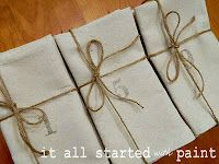 numbered drop cloth napkins via it all started with paint