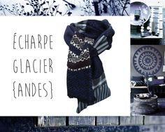 Echarpe Pure Laine Hiver Bleu Noir Losanges Rayures Carreaux Modèle Unique : Echarpe, foulard, cravate par lefil
