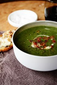 Spinach Soup with Pancetta and Goat Cheese and Walnut Bruschetta
