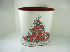 Get trashy! Vintage FLORAL TRASH CAN w/ Red Flowers #gettrashy by LavenderGardenCottag on Etsy