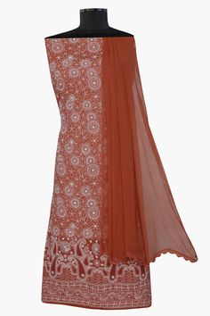 Ada #handembroidered Rust #cotton #lucknowi #chikankari  Unstitched Suit Piece – A285292