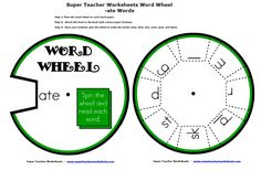 Word family word wheel.  Spin the wheel to make skate, state, and make!