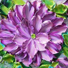 Oil Painting Lavender Purple dahlia by Jan Ironside