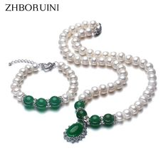 2017 Fashion Necklace Pearl Jewelry Set Natural Freshwater Pearl 925 Sterling Silver Jewelry Green Agate Pendant For Mother Gift