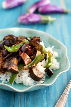 Quick, easy, delicious #vegan spicy stir fried eggplant. A tasty plant based meal!