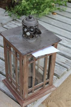 Wedding Card Holder- Lanterns to match ones that will line ceremony aisle Reception Party, Reception Decorations, Tan Wedding, Dream Wedding, Wedding Stuff, Wedding Boxes, Wedding Cards, Wedding Lanterns, Cards