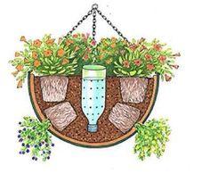 Macetero colgante con riego en botella #Ecoideas compartida en la página en Facebook de iHuerting App