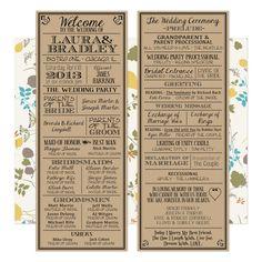 Printable Digital Wedding Program Vintage By LadybugPixels 4000