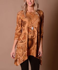 Look at this #zulilyfind! Tan & Brown Paisley Sidetail Tunic #zulilyfinds. Love this top!