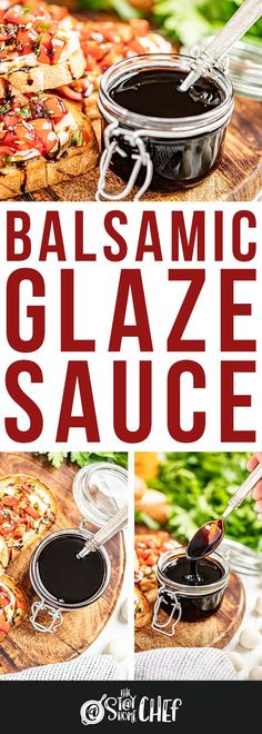 Balsamic glaze requires only 2 ingredients and 15 minutes to make the most flavorful sauce to go on your favorite salads, chicken, vegetables, and more! You're definitely going to want to give this recipe a try. Stay At Home Chef, Balsamic Glaze, Glaze Recipe, 2 Ingredients, Vegetable Recipes, Italian Recipes, Appetizers, Cooking Recipes, Sauces