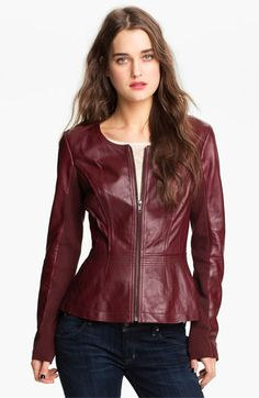 Hinge® Leather Peplum Jacket available at #Nordstrom. I must have a jacket this color this fall!