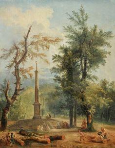 Hubert ROBERT (1733-1808) Réunion de pèlerins en forêt Toile. 81,5 x 65,5 cm