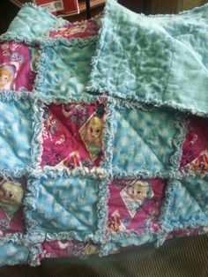 Frozen Sisters Forever Rag Quilt 35x45 Cotton and cotton flannel fb page ragamuffinfleecethrows