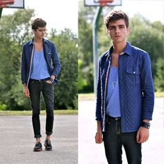 Quilted Shirt, Fashionology Necklace, Cheap Monday Jeans, Navy Suede Shoes, Topshop Bracelet