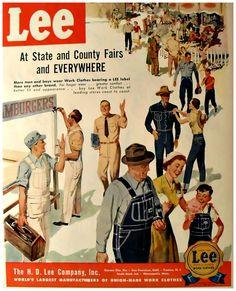 vintage LEE work wear blue jeans overalls uniforms menswear men illustration advertisement by Christian Montone,::