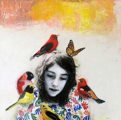 Kai Fine Art is an art website, shows painting and illustration works all over the world. Art Du Collage, Painting Collage, Mixed Media Collage, Paintings, Art And Illustration, Figurative Kunst, Inspiration Art, Abstract Portrait, Bird Art