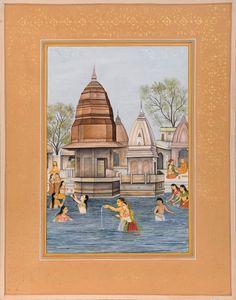 Har Ki Pauri, A Ghat Of Prime Importance Since The Vedic Age, Hindu Water Color Painting on PaperArtist: Navneet Parikh Paint Run, Ancient Indian Art, J Star, Haridwar, Human Settlement, Paper Artist, Place Of Worship, Paint Colors, Taj Mahal