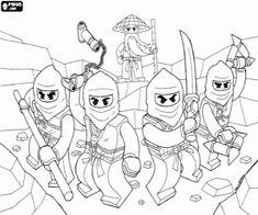 Malvorlagen Die Ninjas mit seinem Meister in Lego Ninjago Ausmalbilder zum ausdrucken