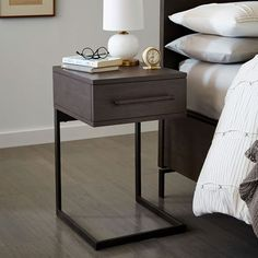 "Nash C-Base Nightstand – Mineral | west elm - 16""w x 17""d x 26""h - $299 (less 20% is $239.20)"