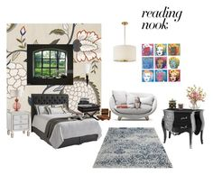 """""""READING NOOK : NIGHT"""" by susibonvi ❤ liked on Polyvore featuring interior, interiors, interior design, home, home decor, interior decorating, Eichholtz, 251 First, Nook and Andy Warhol"""