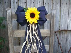 Sunflowers Sunflower and Denim Pew Bow Sunflower by OneFunDay