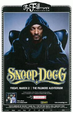 Concert poster for Snoop Dog at The Fillmore Auditorium in Denver, CO in 2012. 11 x 17 inches on card stock.