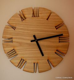 "Unique Roman Style Wood Wall Clock 15"""
