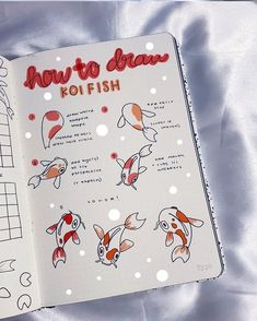Would you like to learn how to add doodles to your bullet journal? The internet is filled with fun and creative bullet journal doodle ideas and tutorials. Bullet Journal Cover Ideas, Bullet Journal Notebook, Bullet Journal Spread, Bullet Journal Ideas Pages, Bullet Journal Inspiration, Journal Covers, Fish Drawings, Koi Fish Drawing, Bullet Journal Aesthetic
