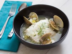 20 Clam, Oyster, and Mussel Recipes for Shellfish Lovers - Halibut à la Nage With Clams, Dill, and White Wine Serious Eats, Shellfish Recipes, Seafood Recipes, Wine Recipes, Cooking Recipes, Mussel Recipes, How To Cook Fish, Halibut, Just Cooking