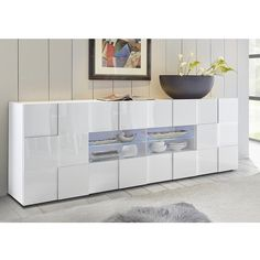 Aspen Modern Sideboard Large In White High Gloss With 2 Doors And 4 Drawers With LED Lighting, will surely add an elegance and gives perfect finishing touch to any home decor. Made of MDF in lacque. Dining Room Sideboard, Small Sideboard, Console Cabinet, Wood Sideboard, Modern Sideboard, Side Board, Buffet Design, Top Of Cabinets, Display Cabinets