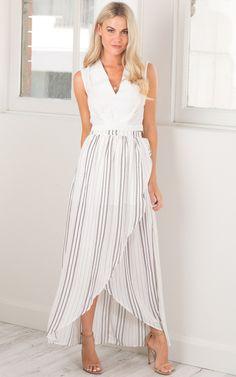 Showpo Sail Away maxi skirt in white stripe - 6 (XS) Skirts