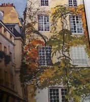 AUTUMN IN SAINT GERVAIS PARIS Watercolor Print • Pierre Deux Style