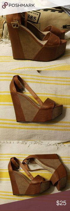 Sabine leather wedges Worn one. Cute wedges with ankle strap Sabine Shoes Wedges