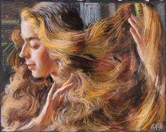 Giacomo Balla (Torino 1871 - Roma 1958) Fanciulla bionda ondata di capelli.