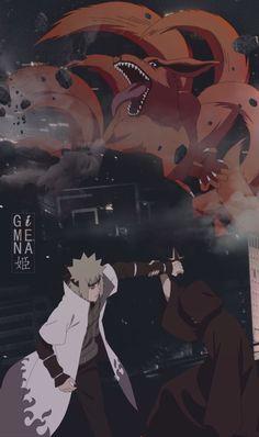 Minato vs Obito and Kurama Naruto Wallpaper Iphone, Wallpapers Naruto, Naruto And Sasuke Wallpaper, Cool Anime Wallpapers, Wallpaper Naruto Shippuden, Anime Wallpaper Live, Animes Wallpapers, Anime Naruto, Naruto Fan Art