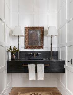 Powder Room Design, Powder Room Decor, Bathroom Interior Design, Bathroom Sink Design, Eclectic Bathroom, Beautiful Bathrooms, Elle Decor, Bathroom Inspiration, Small Bathroom