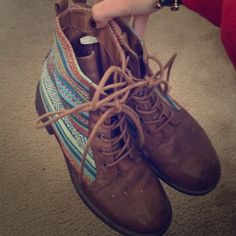 Pacsun women's boots Pacsun aztec inspired brown boots with heel. Size 7 but can fit 6.5! PacSun Shoes
