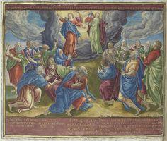 Johann Sadeler (I) | Hemelvaart, Johann Sadeler (I), 1579 | Illustratie van het zesde geloofsartikel ([Christus] die opgestegen is ten hemel, zit aan de rechterhand van God, de almachtige Vader) van de apostolische geloofsbelijdenis. Nadat Christus ten hemel is gevaren, kijken de apostelen naar de hemel. Twee engelen verschijnen aan hen. Achter de engelen de Heilige Drie-eenheid. Christus troont met het kruis aan de rechterhand van God de Vader. Boven de voorstelling een verwijzing naar de…