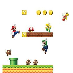 Bring scenes from the most successful Nintendo games to the walls of your room! Super Mario, Nintendo Games, Wall Sticker, Gaming, Snoopy, Scene, Projects, Character, Inspiration