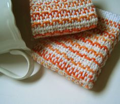 2 Handwoven White and Orange Cotton Dishcloths by CherieWheeler, $12.00