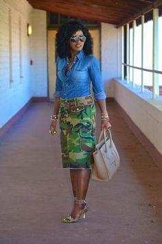 Denim Shirt + DIY Camouflage Pencil Skirt | Style Pantry