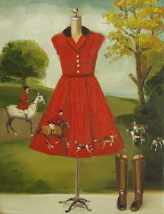 Horses And Hounds Riding Dress- Limited Edition Print via Etsy. Janet Hill