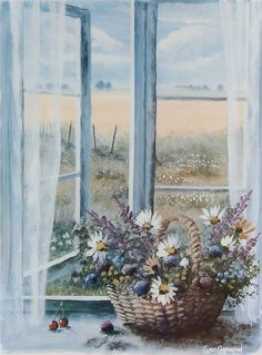 Watercolor Illustration, Watercolor Paintings, Relaxing Art, Beach Artwork, Arte Floral, Beautiful Paintings, Mail Art, Landscape Art, Painting Inspiration