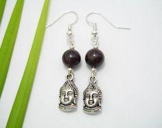 Cadeaux - boucles gemme Bouddha Yoga boucles d'oreilles - désir spirituel bijoux - boucles d'oreilles de la paix - donnant - Bouddha avec sens