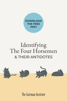 Do you receive our Love Notes newsletter? Sign up for this month's free download featuring the Four Horsemen (and their antidotes). Identifying the Four Horsemen in your conflict discussions is a necessary first step to replacing them with healthy, productive communication patterns. Download this month's free resource and start applying this Gottman concept to your relationship by signing up for Love Notes today. Gottman Institute, Love Notes, First Step, Communication, Relationships, How To Apply, Concept, Sign, Patterns