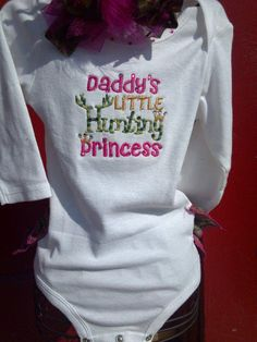 Daddy's Hunting Princess Ruffle Onesie by quiltshoppeboutique, $29.95