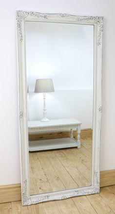 Gerona white shabby chic full length vintage dress mirror for Large bedroom floor mirror