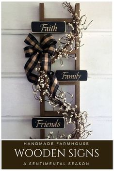 Faith, Family and Friends are celebrated on this rustic, wooden ladder sign perf. Faith, Family and Friends are celebrated on this rustic, wooden ladder sign perfect for on the front porch or inside you. Wooden Ladder Decor, Rustic Ladder, Wood Ladder, Antique Ladder, Diy Home Decor Rustic, Handmade Home Decor, Farmhouse Decor, Farmhouse Style, Farmhouse Front