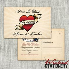 Cute tattoo theme wedding invitations and save the date cards